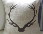 Burlap deer stag antlers pillow cover
