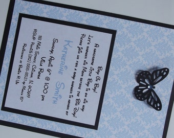Butterfly Blue Damask Baby Shower Invitations - Boy Sprinkle Butterfly Die Cut Invitation - Envelopes Included