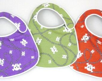 Punk Rock Baby Bibs Skulls and Barbwire - set of 3 bibs for baby boy or girl unisex