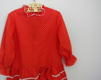 Vintage Girl's 1960s Red Dress with White Polkadots and Ric Rac - Size 4 or 5