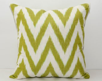 chevron cushion, ikat, green ikat, chevron ikat pillow, green chevron, green cushion, ikat pillow cover, 16x16, zig zag ikat, zig zag pillow