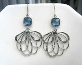 Navy montana glass scallop setting with silver layered filigree earring