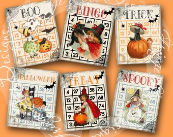 Halloween Bingo Cards Digital Instant Download Sheet for ACEO, note cards, hang tags