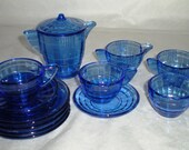 Akro Agate Cobalt Blue Interior Panel with Stacked Disc - Child's Toy Dishes Tea Set