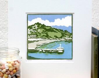 Hand Printed A Bay in Cornwall Linocut Print