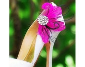 Statement Shoe Clips. Fuschia Feathers Couture Bridal Bridesmaid Bachelorette Sophisticated, Rhinestone Crystals, Bright Ostrich Goose Green