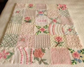Personalized Vintage Chenille Baby Quilt -  Baby's Breath - Custom