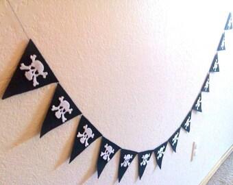 Pirate Birthday Banner, Halloween Skull Banner