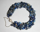 Sodalite Stone Chip Bracelet With Silver Magnetic Clasp And Sterling Safely Chain