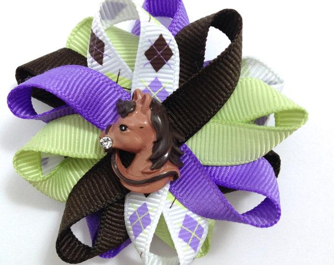Lime, Purple & Brown Horse Hair Bows