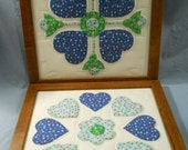 2 Hand Quilted Wall Hangings Pictures Country Primitive Green Blue White Frame Quilt
