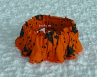 "Halloween Flying Witches Dog Collar Scrunchie with petite pom poms - XXS: 8"" to 10"" neck - TrY Me PriCe"