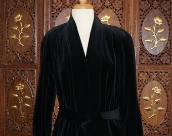 1980s Black Velvet Maxi Wrap Coat