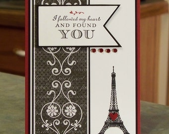 "Handmade Valentine's Day Card - 4 1/4"" x 5 1/2"" - Stampin' Up Follow My Heart - Hand Stamped Eiffel Tower"