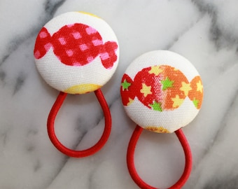 Red and Orange Wrapped Hard Candies pony tail holders make adorable party favors, gifts, everyday hair accessories