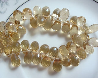 Champagne Quartz Faceted Teardrops Briolettes