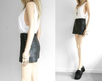 Black Leather Shorts High Waist Leather Shorts Nappa Leather High Waisted Shorts Vintage VTG Club Kid Festival 90s Grunge waist 26 27 28