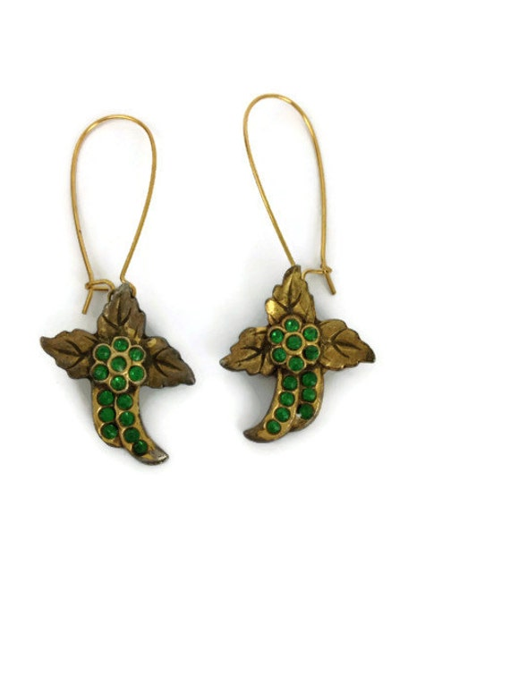 Art Deco gold earrings delicate floral with green rhinestones updated with wire fittings