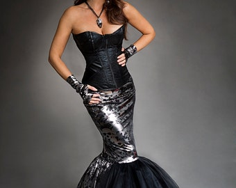 Custom Size black and silver metallic mermaid style skull tulle prom dress Halloween with fingerless gloves Small-XL