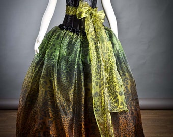 Ooak Size Medium Green Orange Yellow and Black Leopard burlesque corset Ball gown with bow Prom Dress READY TO SHIP