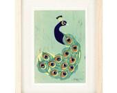 INDIAN PEACOCK Linocut Reproduction Art Print: 4 x 6, 5 x 7