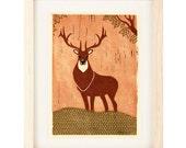 ELK Poster Size Linocut Reproduction Art Print: 8 x 10, 9 x 12, 11 x 14, 12 x 16