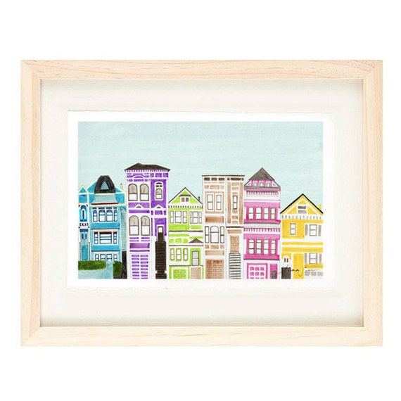 VICTORIAN HOUSES - Colorful Bright Large Illustration Artwork Print 8 x 10 or 11 x 17