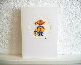Cross Stich Greeting Card Little Girl with Doll Hand Embroidered