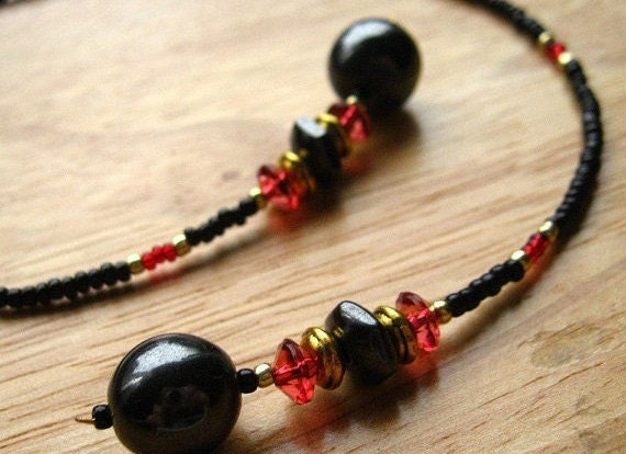 Handmade Beaded Bookmark - Crimson Drops. Handmade.
