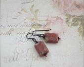 Rhodochrosite Gemstone Earrings, Rustic Pink Wellbeing Jewelry - Nisaba
