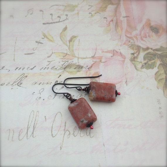 Rhodochrosite Gemstone Earrings, Brown Stone Earrings Rustic Pink Wellbeing Jewelry - Nisaba Spring Sale