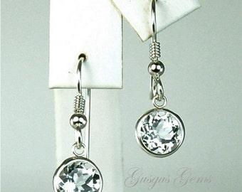 White Topaz 8mm 4.65ctw Sterling Silver Dangle Earrings