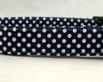 Polka Dot Palooza Dark Navy Blue and White Polka Dot Dog Collar