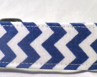 Duke Dark Blue and White Chevron Zig Zag Stripe Dog Collar