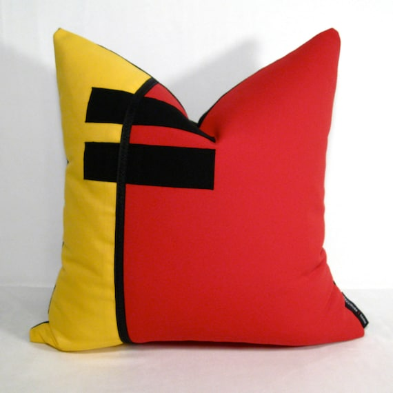 SALE - Red Yellow Pillow Cover - Modern Outdoor Indoor - Color Block - Decorative Pop Art - Black Colorblock - Sunbrella Cushion 16 inch