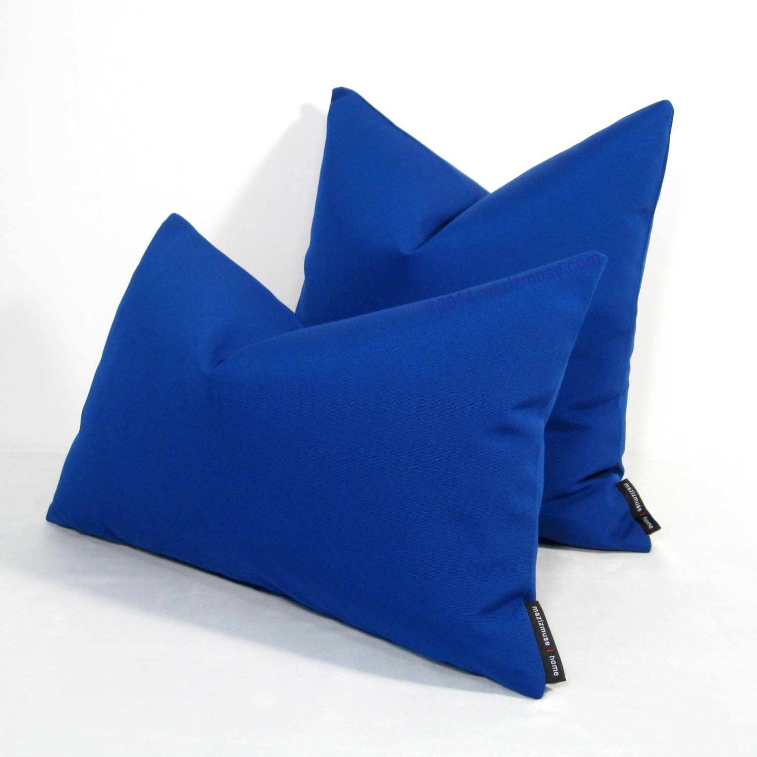 Royal blue pillow cover decorative outdoor pillow by mazizmuse for Royal blue couch pillows
