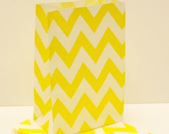 Paper Bags,  Yellow Chevron Party Favor Bags, Yellow Paper Bags, Candy Bags, Bakery Bag,  Party Loot Bag, Bee Party Treat Bags, Birthday Bag
