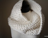 Crochet Cowl in a Beige Color.