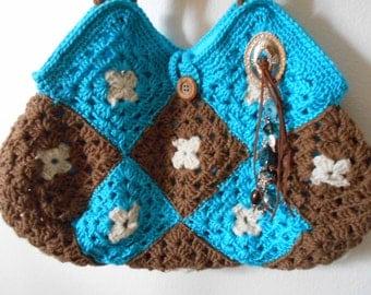 Crochet Granny Square Hobo Purse Bag,  Southwest Design, Brown and Aqua Blue. Concho