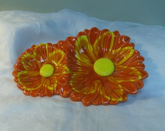 "California Pottery Serving Dish Orange Yellow Sunflower, Santa Anita Ware 1970s, 12"" Vintage Kitchen, Home Decor"