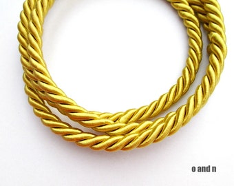 Twisted silk cord, 9mm, golden yellow satin rope, 0.95 meter