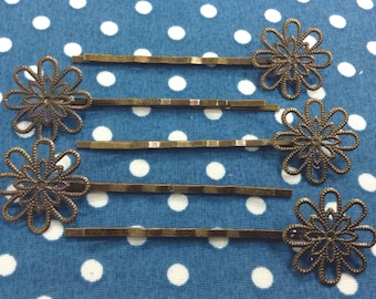 10 Pcs Antique Brass Bobby Pin W/Filigree, NICKEL FREE (BB03)