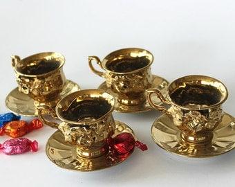 Gold Glazed Ceramic Mocha Coffee Tea Cups and Saucers Vintage Floral Serving Rose Flowers Relief, Set of 4, Hollywood Regency