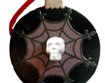 Gothic Christmas Ornament - Skull Ornament - Spiderweb Snowflake Ornament - Dark Christmas Ornament