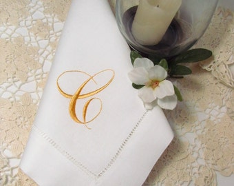 SALE Priced, Ready To Ship,  Monogrammed Linen Dinner Napkins, Set of 8, Elegant Monogram, Letter C in Gold