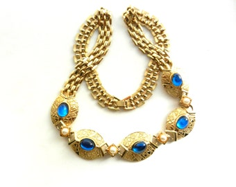 Gorgeous choker necklace 1970 original  -oval sapphire blue cabochons jelly and small pearls - art.93/3 -