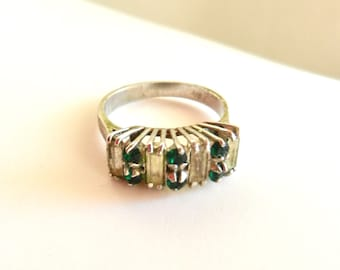 1960s vintage ring - 800 silver with emerald crystals  and pale citrine  baguette cut- Italian Ring size 7 1/2 - Art.90/3-