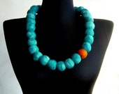 felt balls turquoise eco friendly necklace, strand necklace, statement necklace