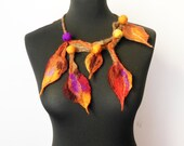 felt leaves statement necklace, felt leaves and balls, eco friendly, winter fashion