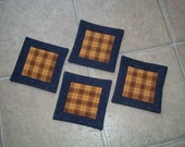 Quilted Reversable Coasters in Blue and Plaid